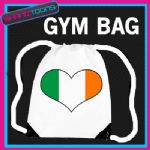 IRELAND HEART FLAG HEART LOVE GYM DRAWSTRING WHITE GYMSAC BAG